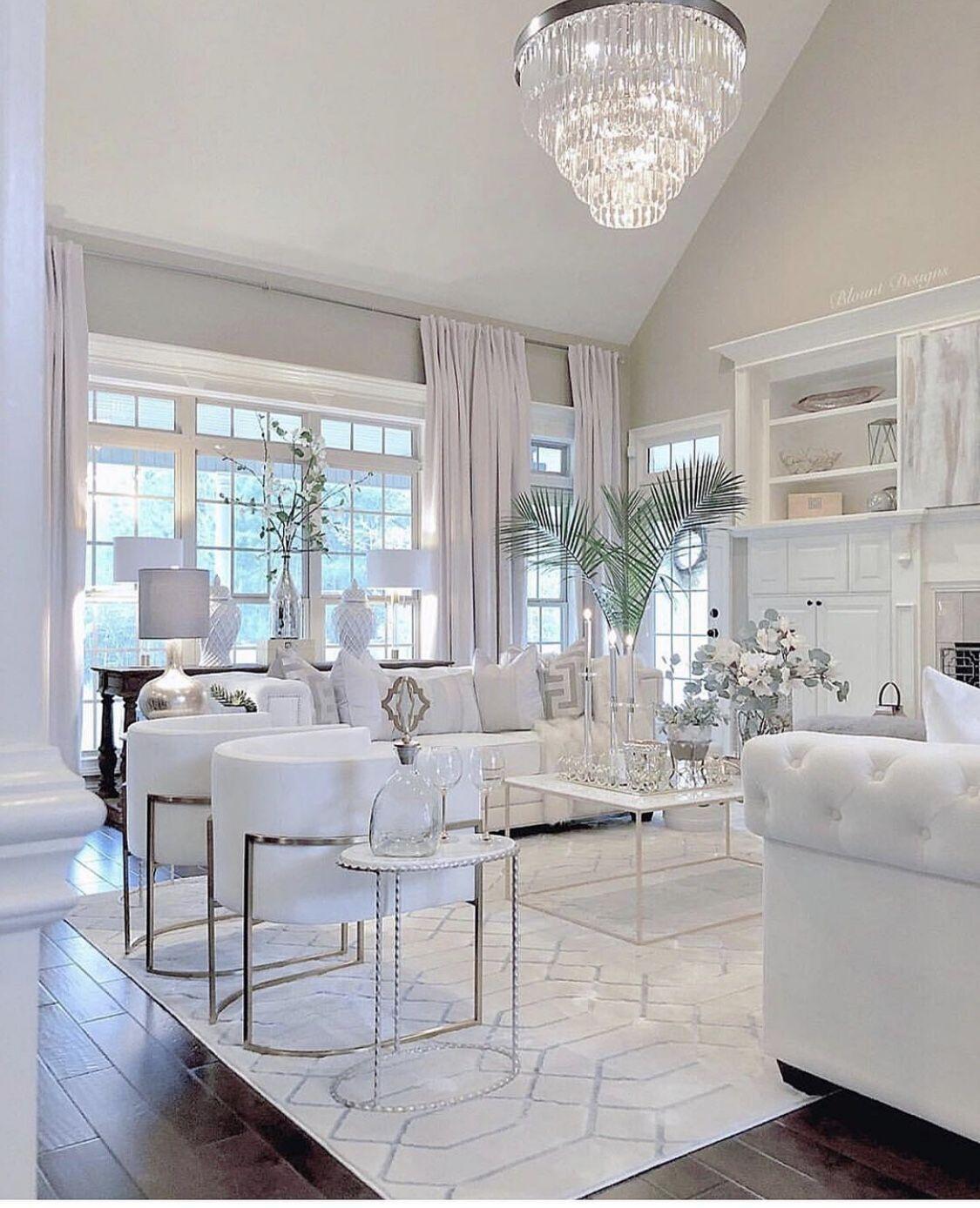 Stunning all white glam living room decor with white ...