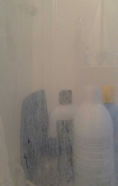hereu0027s the panel of my shower that i did not spray with wet u0026 forget shower