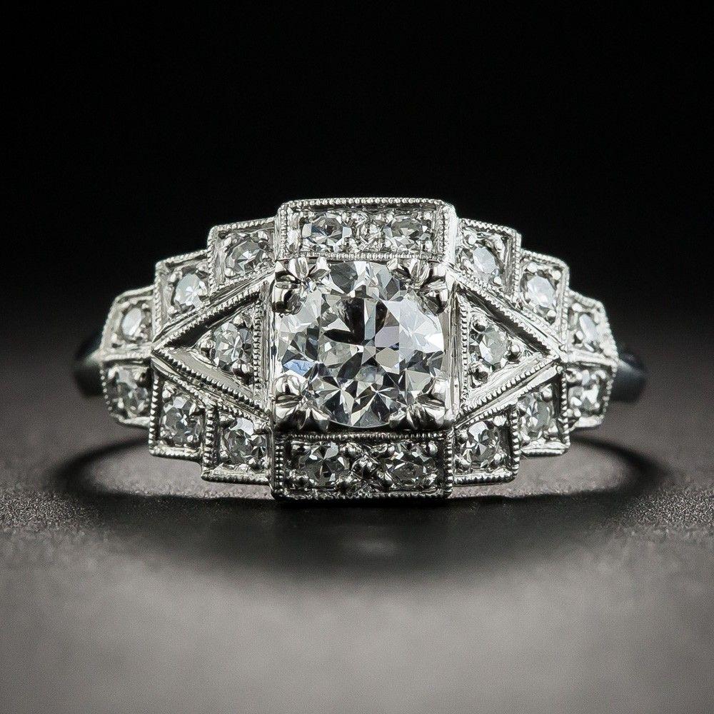 Diamoire Jewels Exemplary Decorated Ribbon Ring in 18Kt White Gold - UK U - US 10 1/4 - EU 62 3/4 ggQSXk