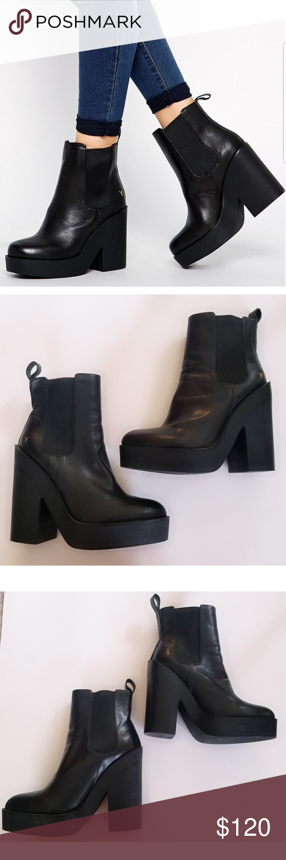 830b80ea23 Windsor Smith Chunky Heeled Chelsea Boots Size 7 Gently used condition  Black Windsor Smith Chunky Heeled