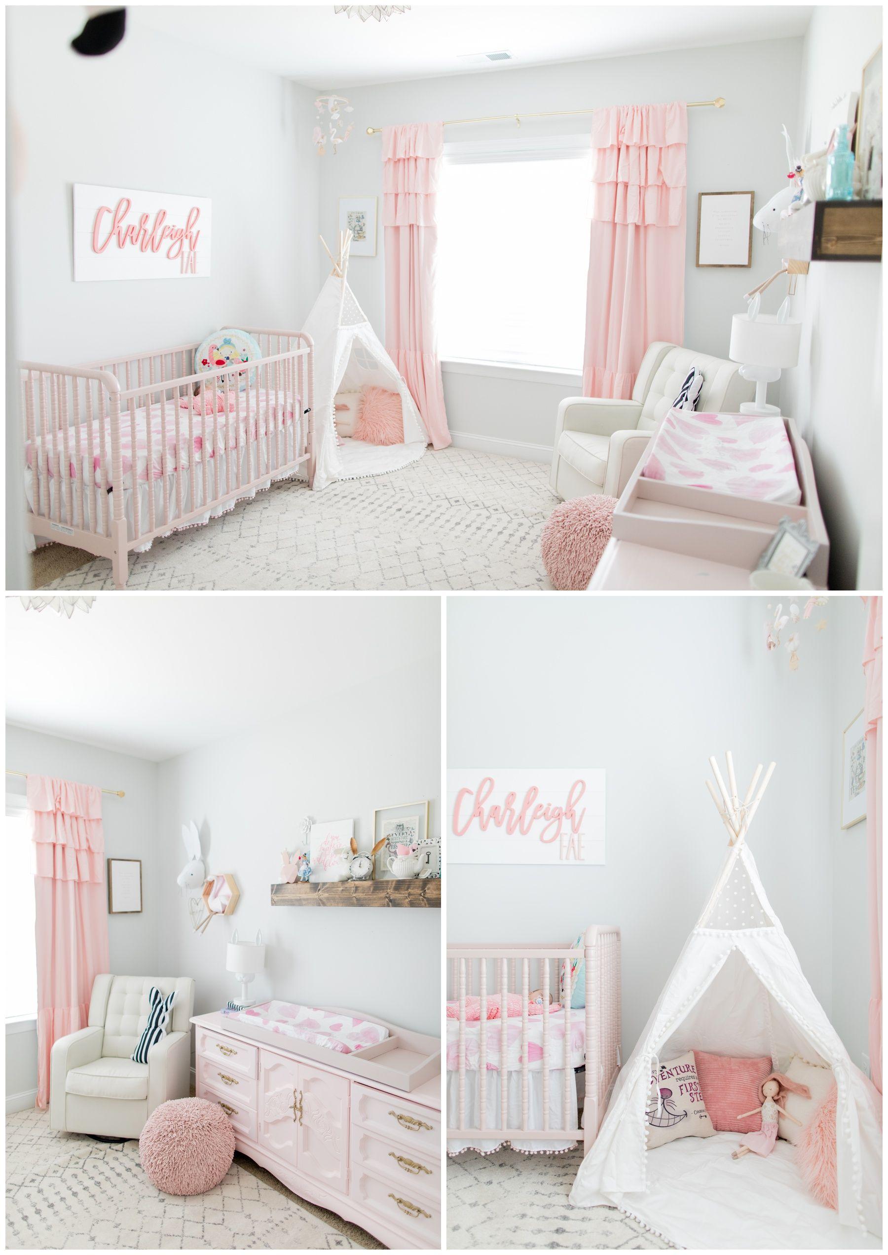 Alice In Wonderland Neutral Nursery Whimsical Nursery Light Pink Nursery Baby Girl Room Decor Pink Baby Room Baby Girl Room