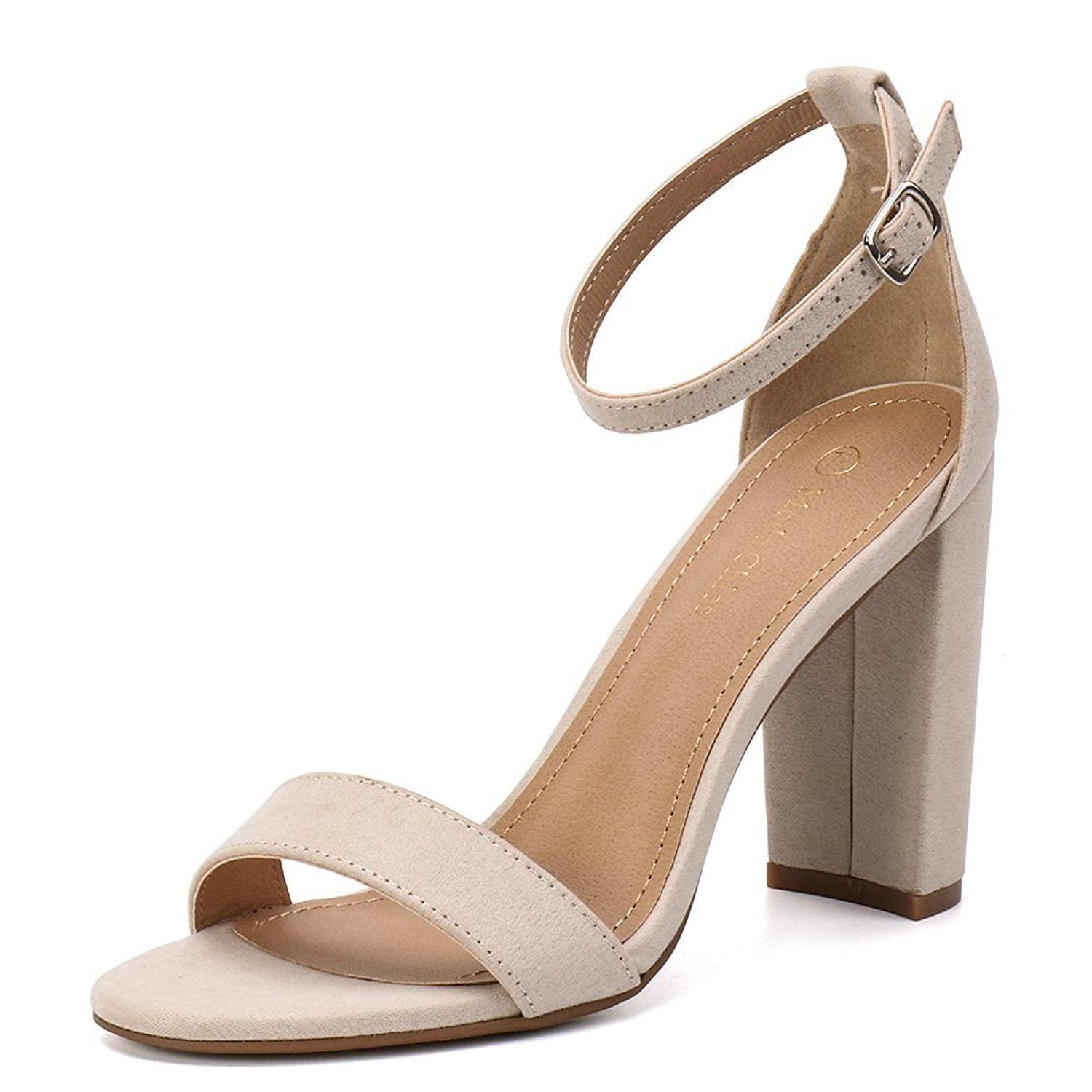 Moda Chics Womens 2 Inches Chunky Heel Sandals for, Nude