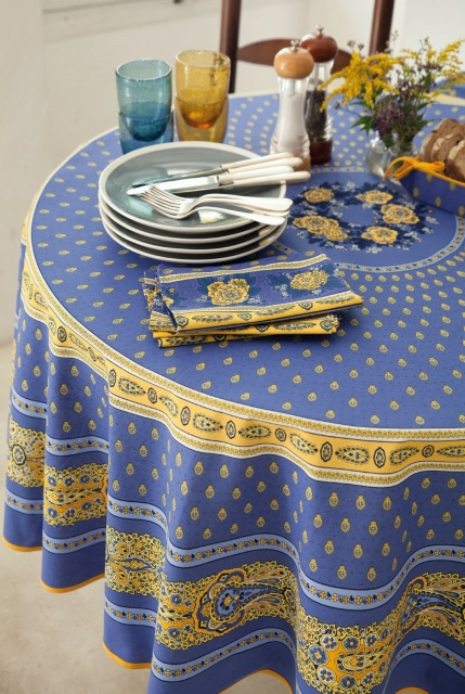Bastide Blue Yellow Round Rectangle Cotton French Provence