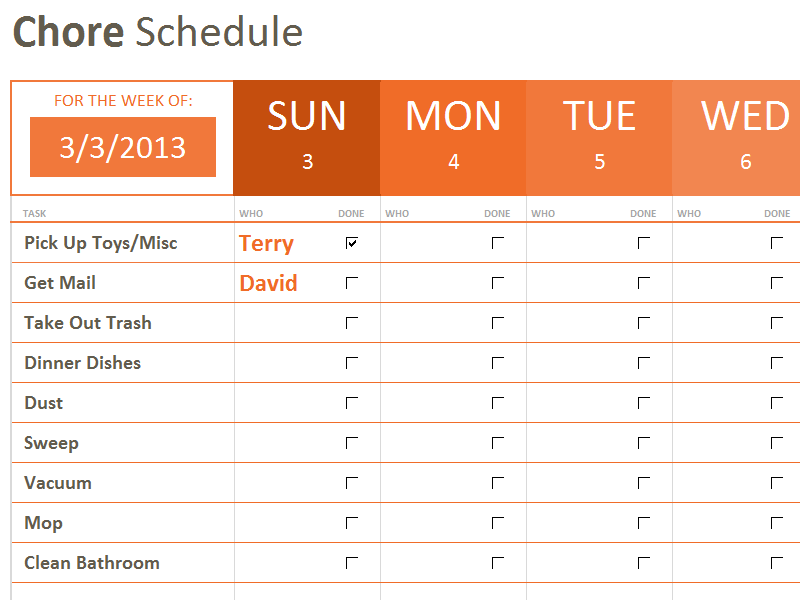 Chore Schedule Starter Template To Keep Us On Track During The