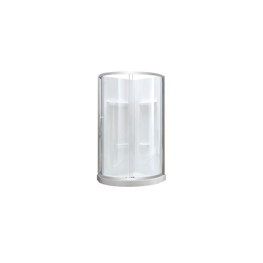 Maia 36 Inch X 79 50 Inch Corner Drain Corner Shower Kit In Clear