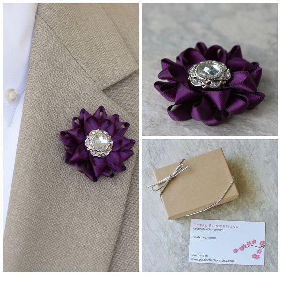 Mens Lapel Flower Pin Custom Lapel Pin Purple Boutonniere Etsy In 2020 Lapel Flower Flower Lapel Pin Custom Lapel Pins