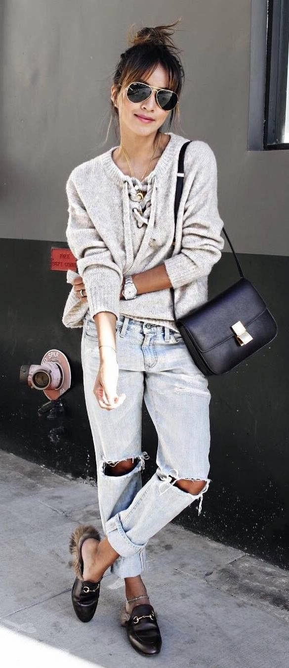 street style addict top + rips + bag
