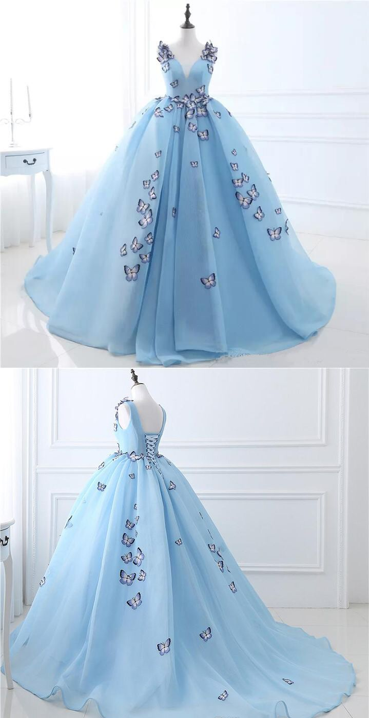 Sky blue vneck butterfly flowers ball gowns long prom dresspuffy