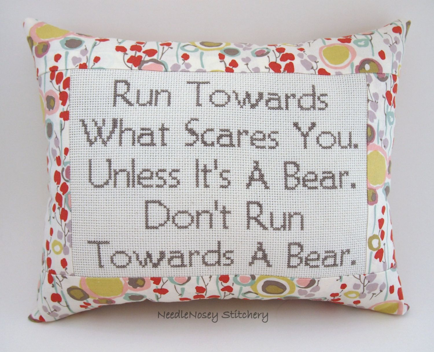 Funny cross stitch pillow floral pillow courage quote funnies