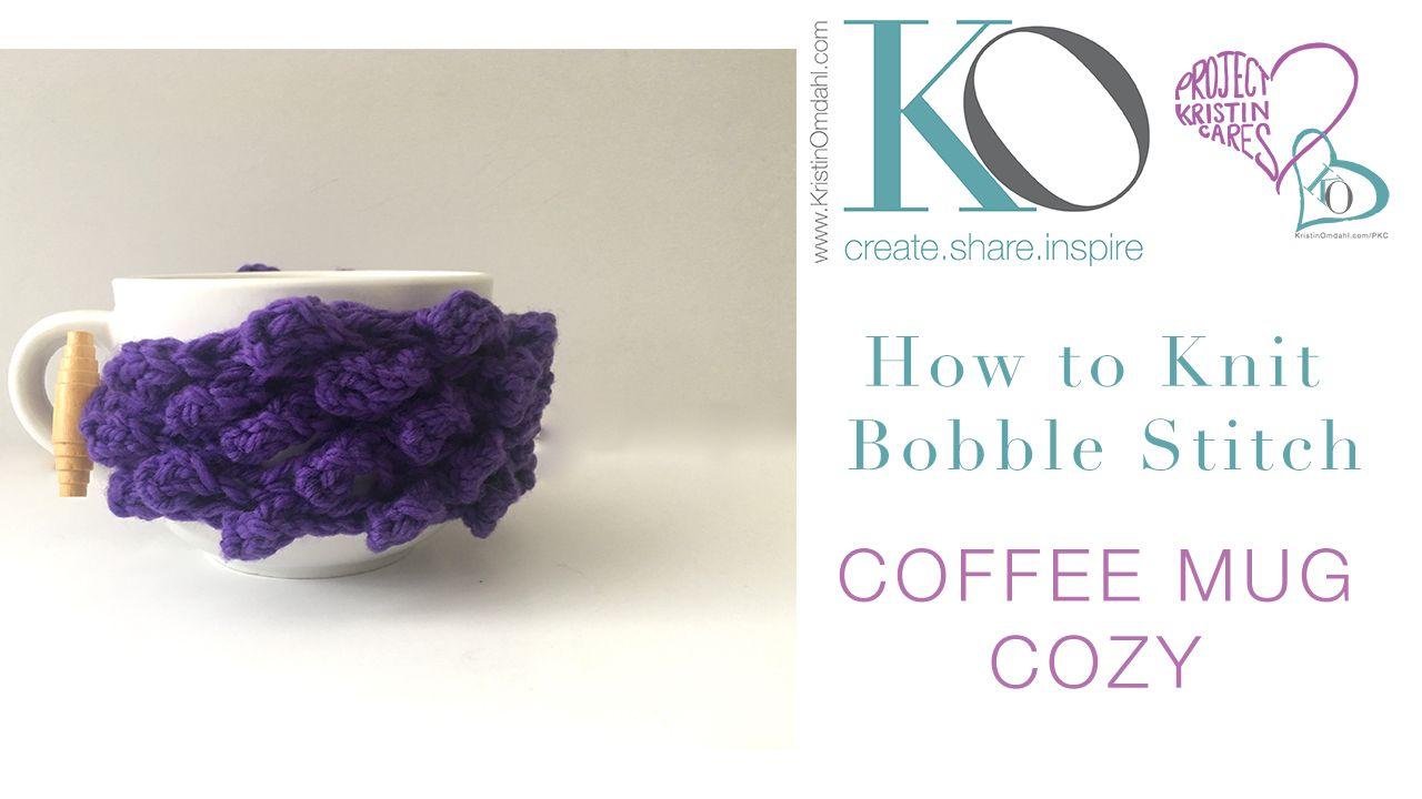 Oct 27 Be So Brave Knit Bobble Coffee Mug Cozy FREE Pattern