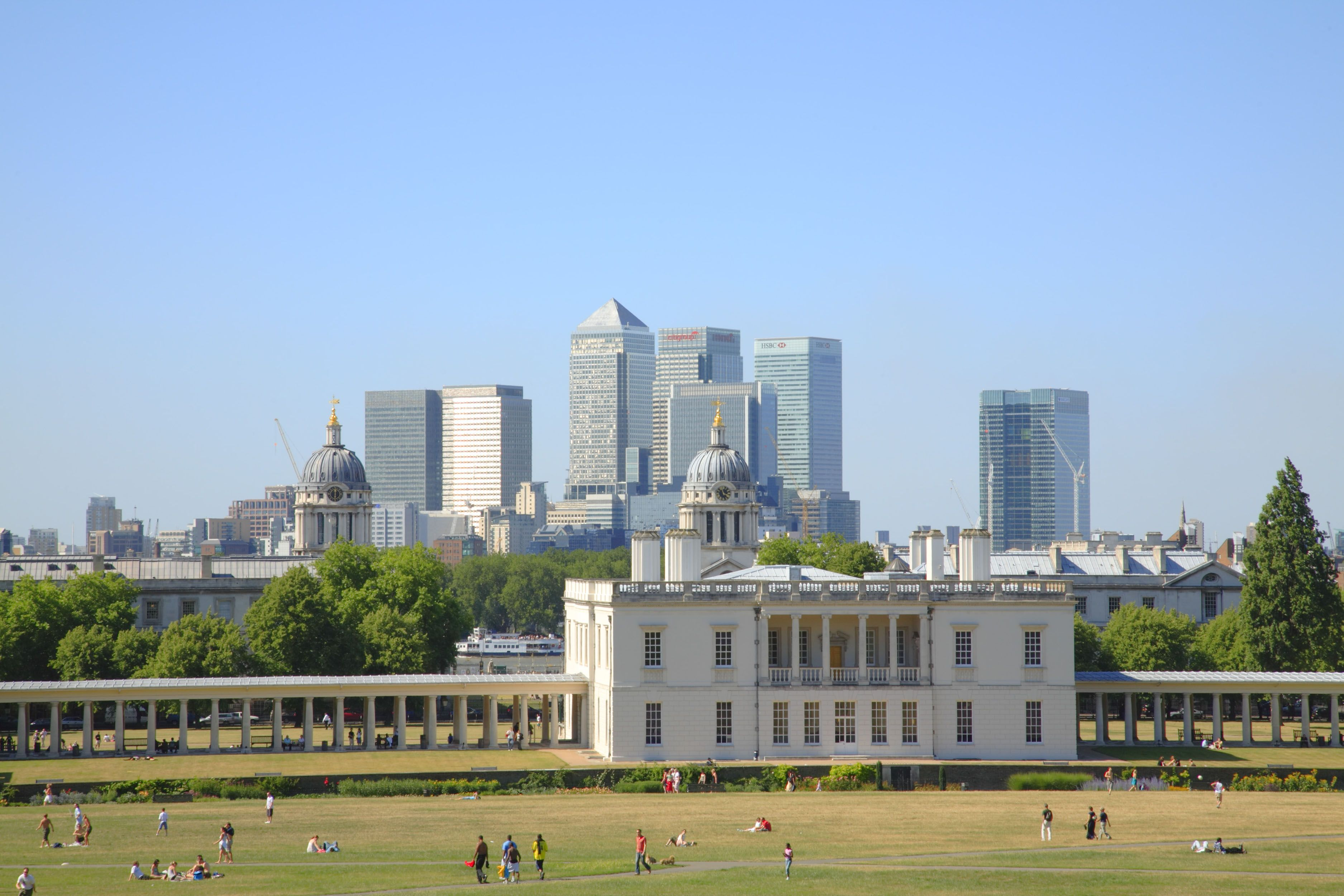 The view of Canary Wharf from Greenwich, London