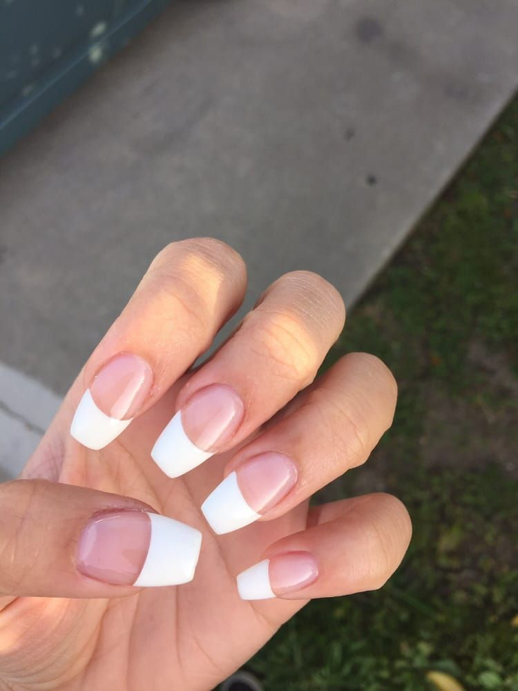 Photo of Anna's Nails - Monterey Park, CA, United States. coffin french tip acrylics with gel top coat. not a fan of how thick the white tips $34