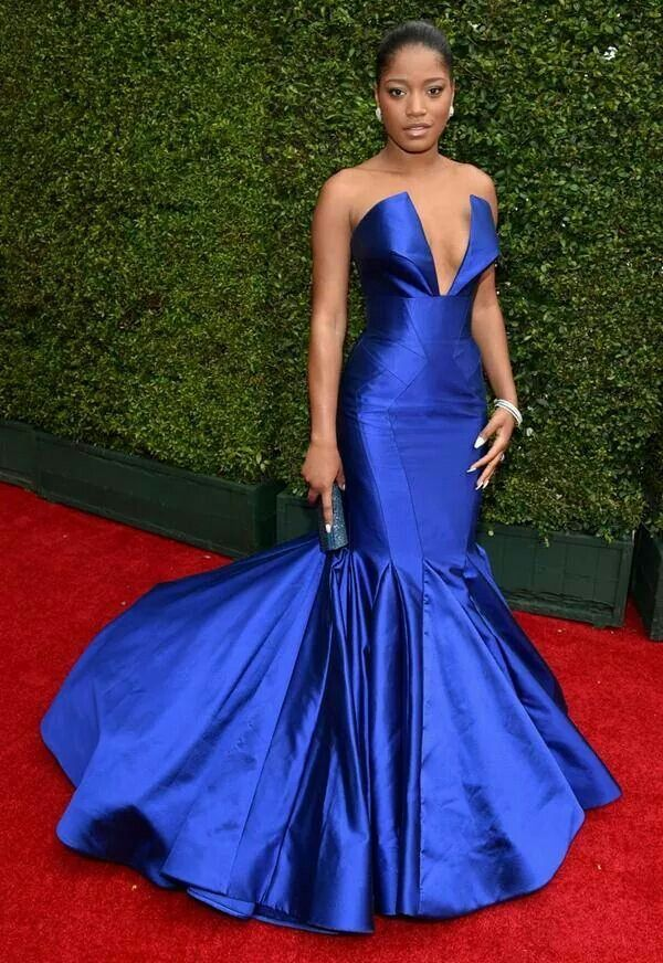 Keke Palmer in cobalt blue trumpet gown less in the bottom would ...
