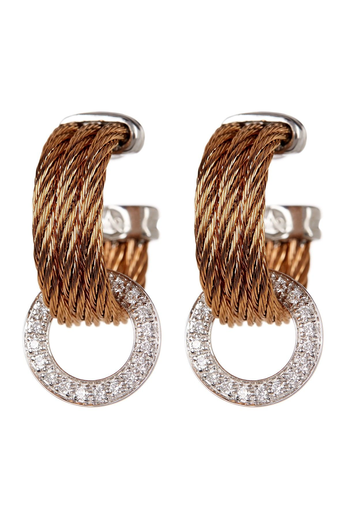 18K White Gold & Diamond Stainless Steel Cable Hoop Earrings 0 36