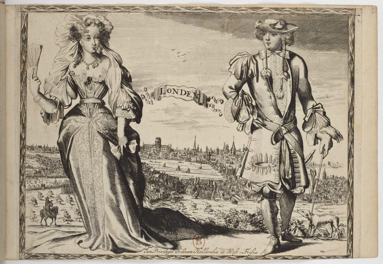 """""""London"""", Costumes des quatre parties du monde, gravés dans la manière de Jan Luycken,1670"""