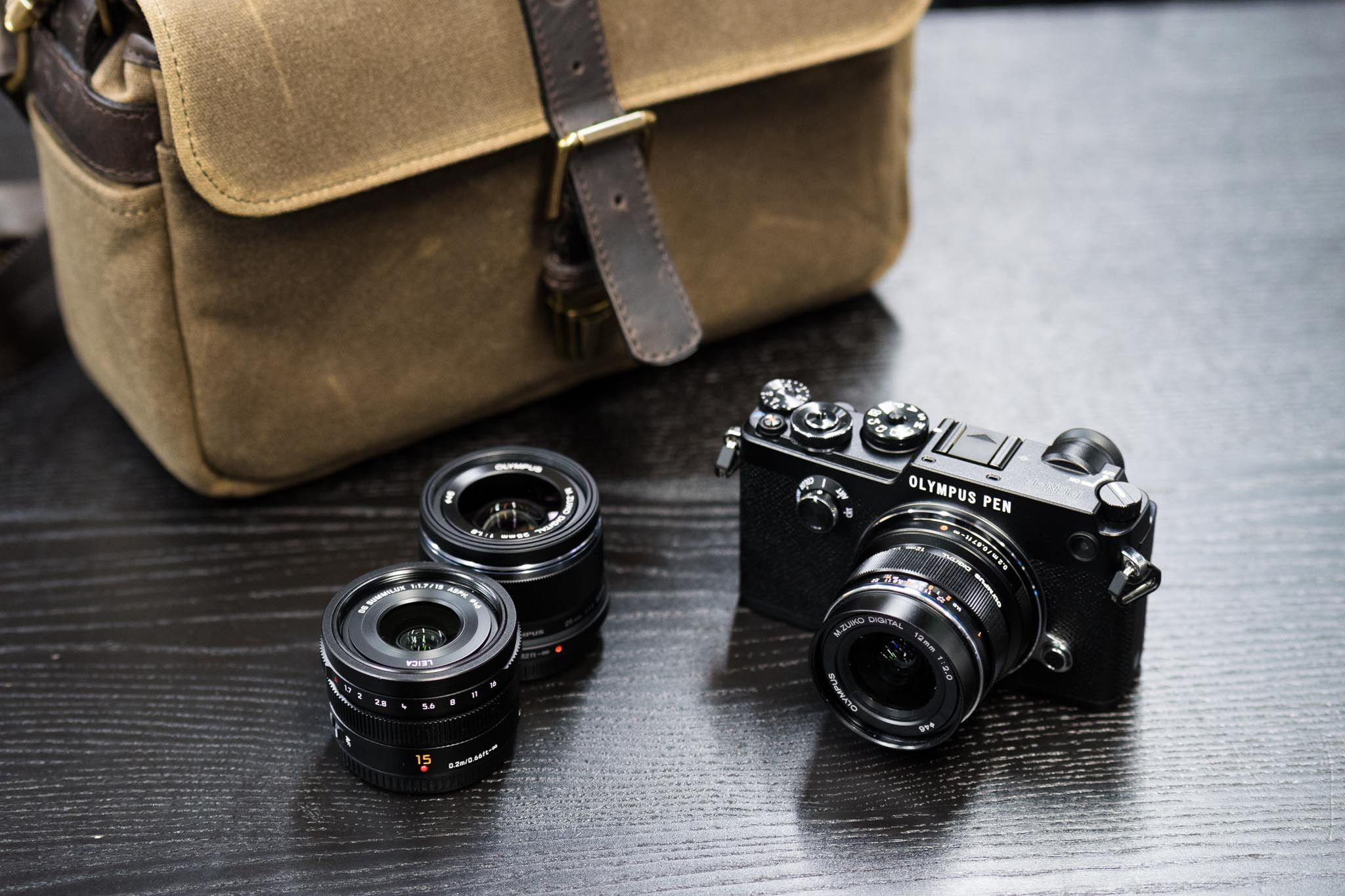 Olympus PEN-F with three lenses and ONA bag   camera   Pen