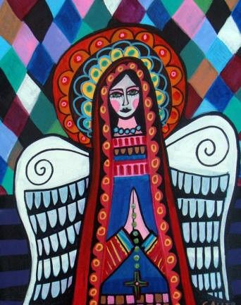 SALE ENDING - Mexican Folk Art - Virgin Of Guadalupe Art Angel Art Panel Print Hardboard Ready To Hang Harlequin Mexican Folk Art