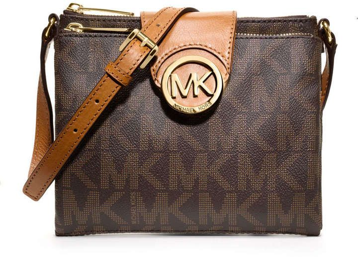 5c14edddf8fd $188, Dark Brown Print Leather Crossbody Bag: MICHAEL Michael Kors Michl  Michl Kors Large