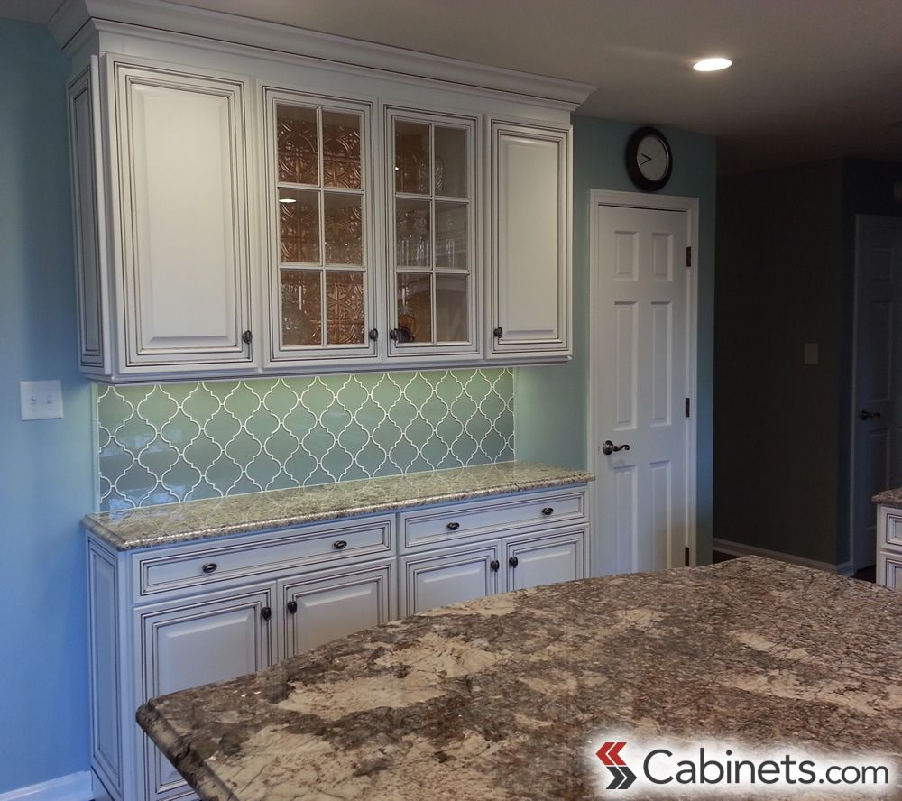 New White Kitchen Cabinets with Chocolate Glaze
