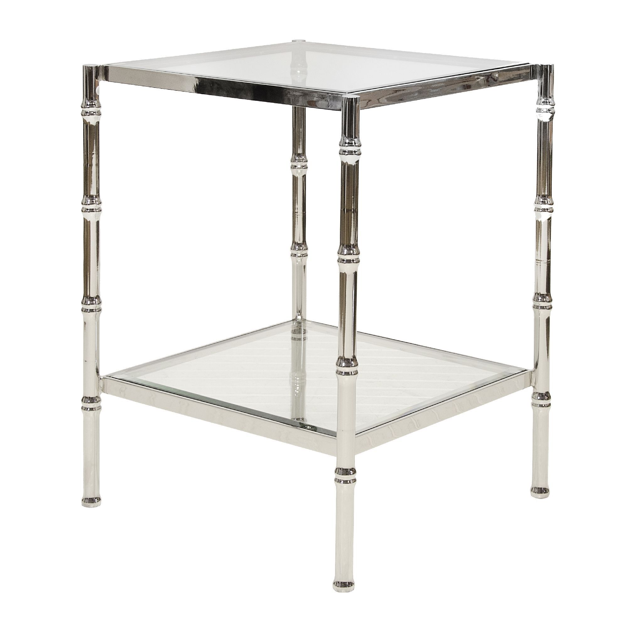 Nickel bamboo side tabe with clear glass tops Worlds Away s