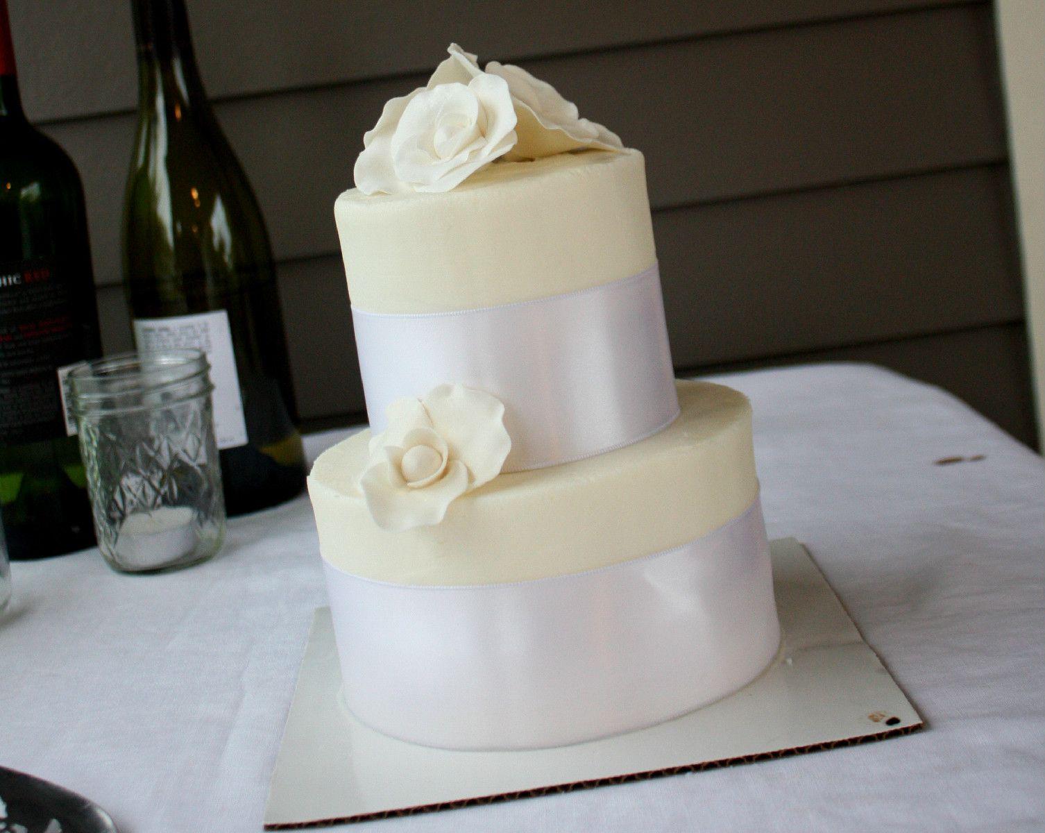 White Anniversary Cake