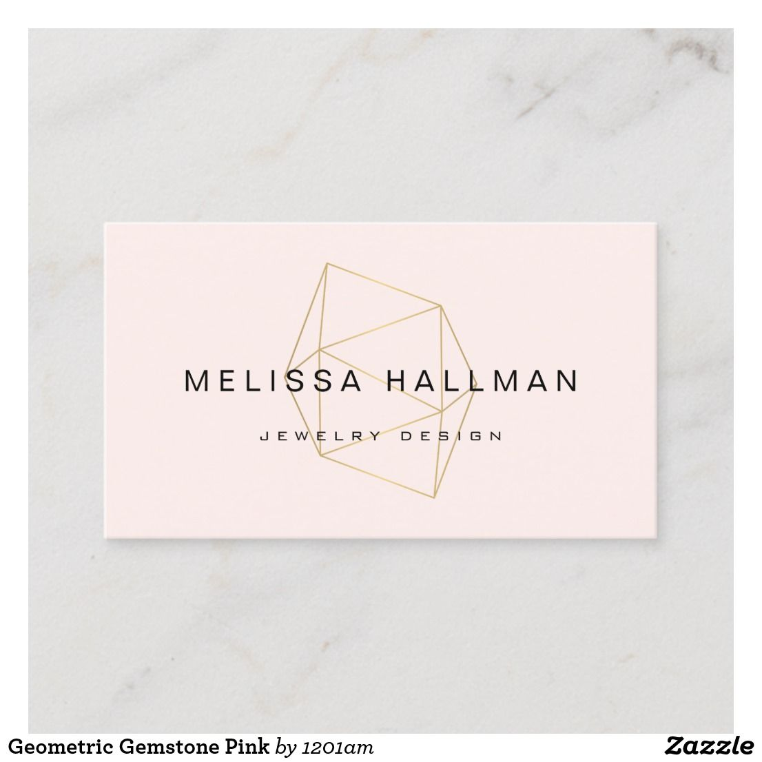 Modern Geometric Gemstone Pink Business Card Zazzle Com Jewelry Business Card Pink Business Card Etsy Business Cards