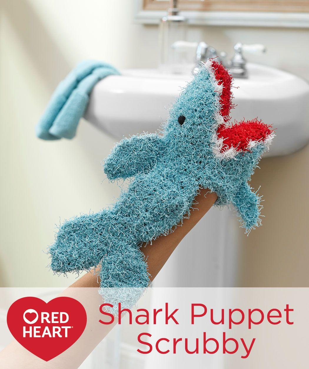 Shark Puppet Scrubby Free Crochet Pattern in Red Heart Yarns - Make ...