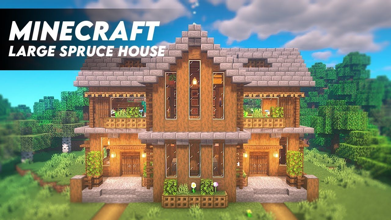 Minecraft How To Build A Large Spruce House Spruce Survival House Tut Minecraft House Tutorials Cute Minecraft Houses Minecraft Cottage