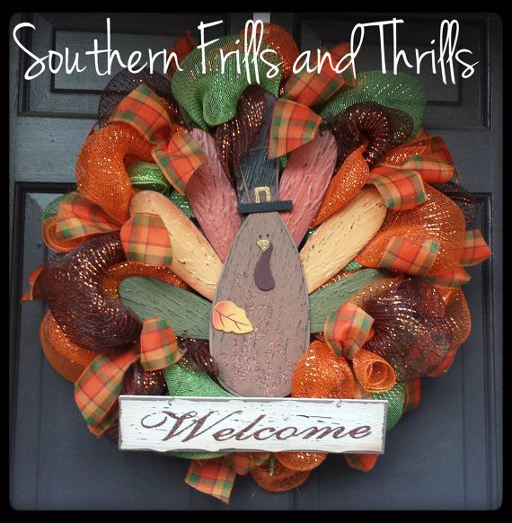 turkey thanksgiving deco mesh wreath by southernthrills on etsy 60 00