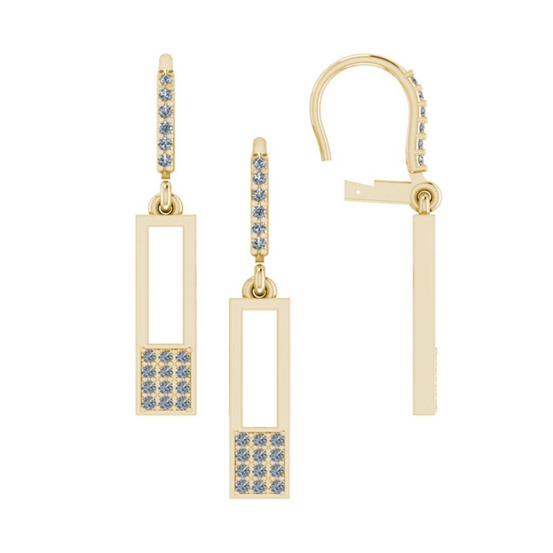 36ctw Geometric Dangle Diamond Earrings in 14kt Yellow Gold