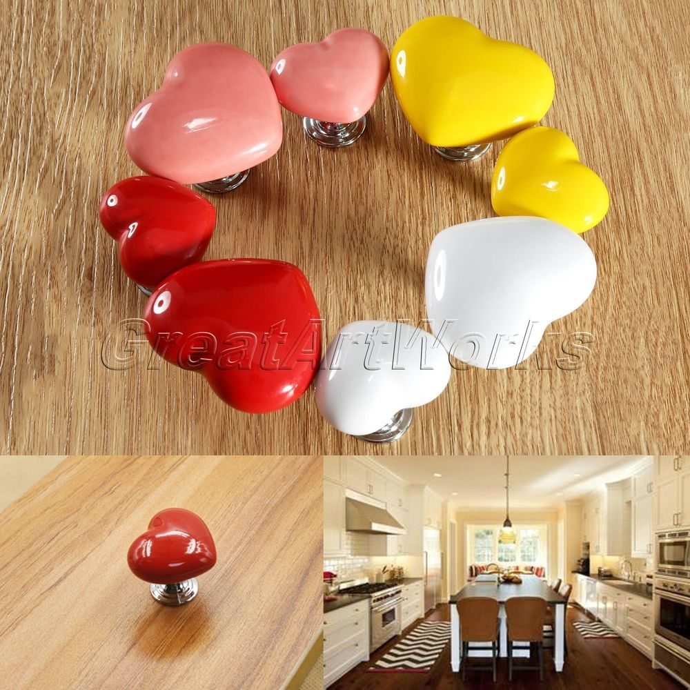 cute heart shape ceramic door handles cabinet cupboard drawer