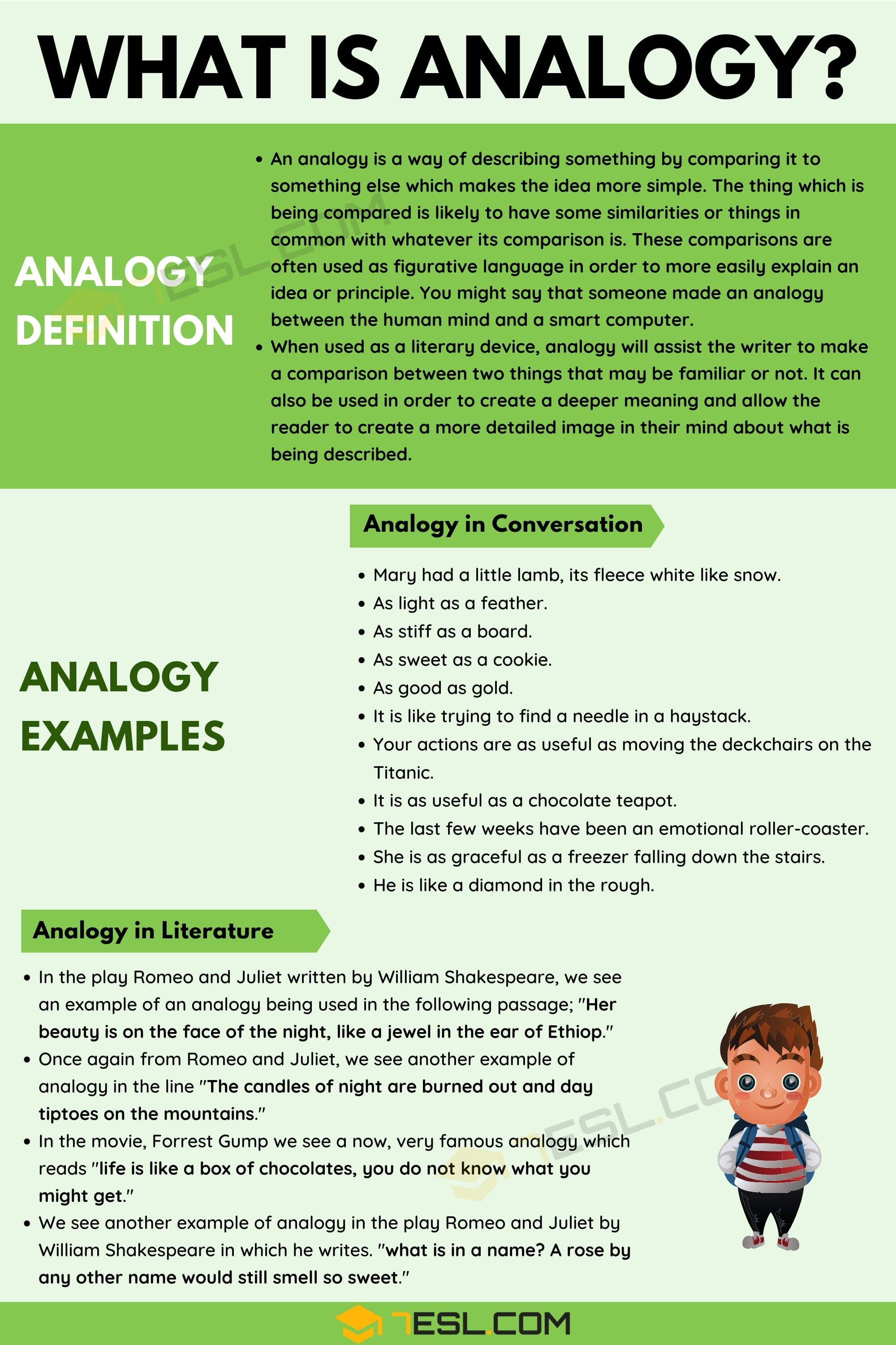 Analogy Definition And Examples Of Analogy In Conversation Literature 7esl English Writing Skills Learn English Vocabulary English Vocabulary Words