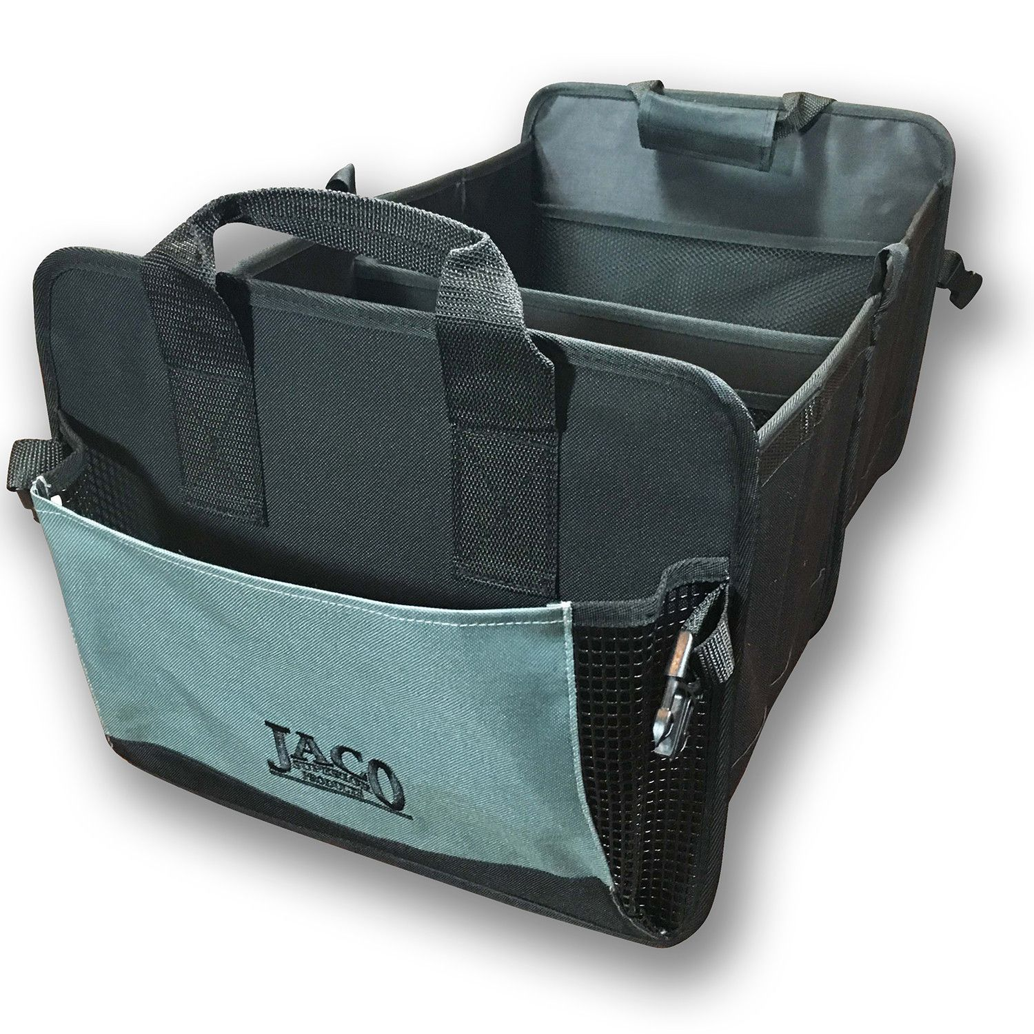 cargopro trunk organizer premium auto cargo storage container built to last from super durable oxford polyester fabric and strategically designed for optimal storage space 2 large main compartments