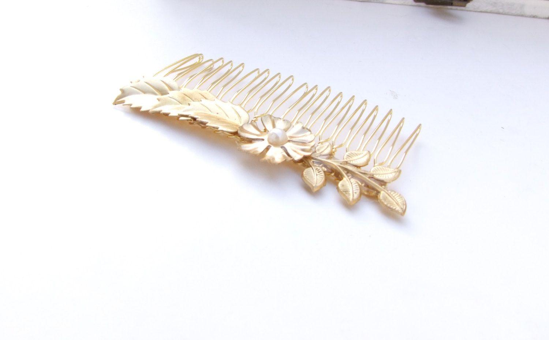 Gold+Hair+CombLeaf+Hair+Comb+Pearl+&+Gold+Hair+by+YaelSteinberg,+$34.00