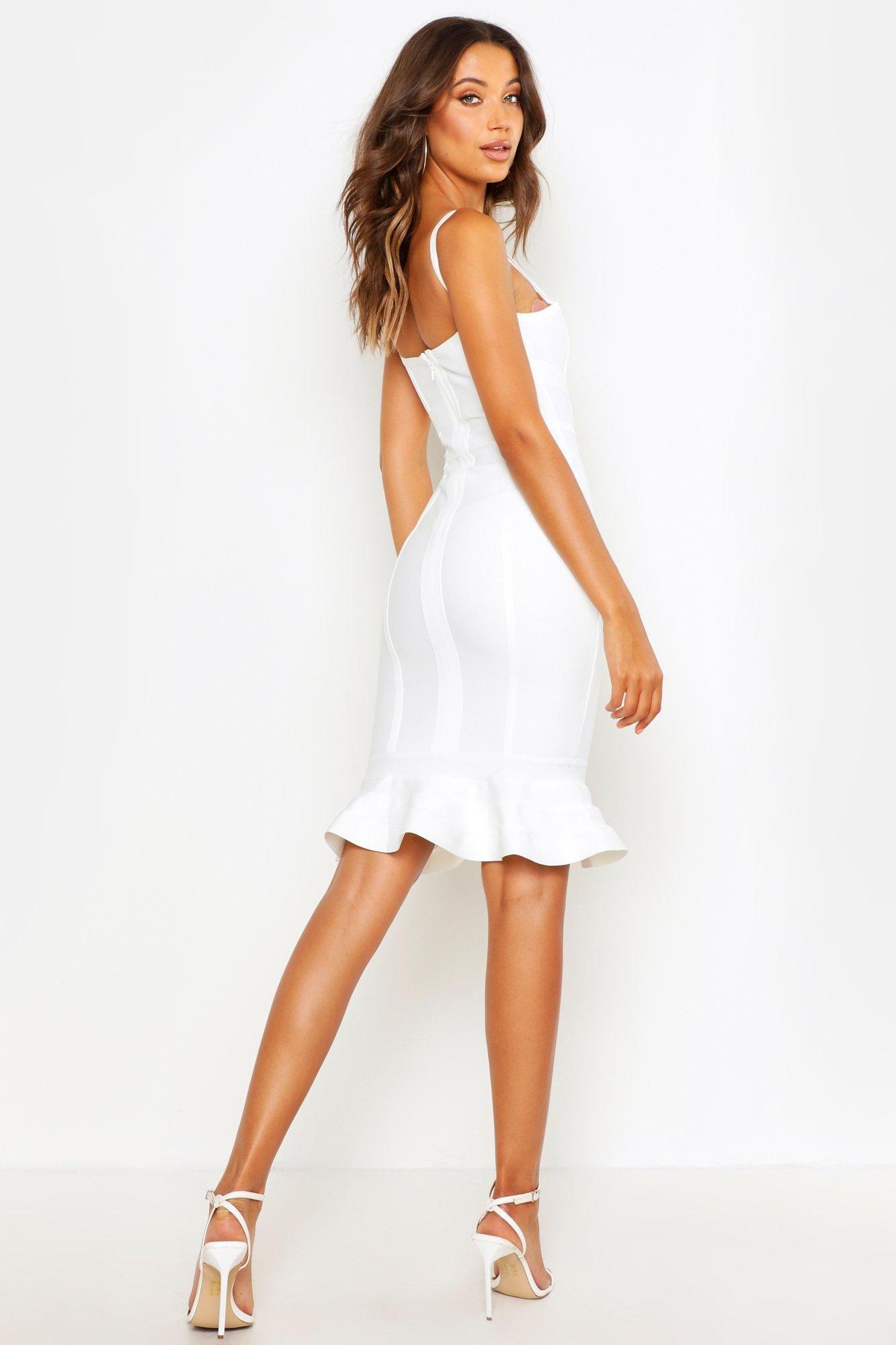Tall Bandage Frill Hem Midi Dress Boohoo In 2021 Short Graduation Dresses White Dresses Graduation Short White Dress Graduation [ 2000 x 1333 Pixel ]
