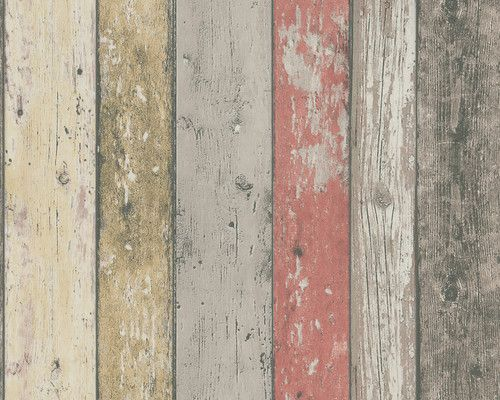 Realistic Shabby Chic Coloured Distressed Wood Panel Effect Wallpaper Feature Wallpaper Novelty Wallpaper Wood Wallpaper