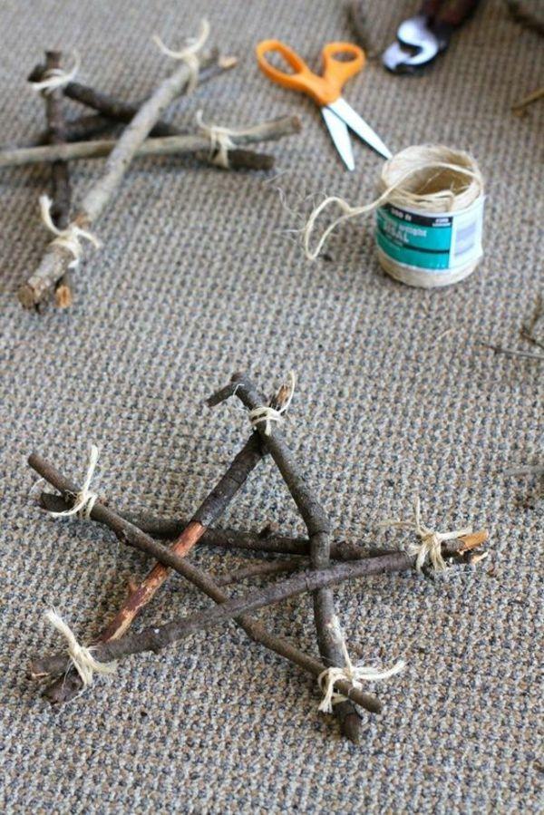 Treibholz Bastelideen weihnachtsstern basteln aus treibholz und bindfaden basteln