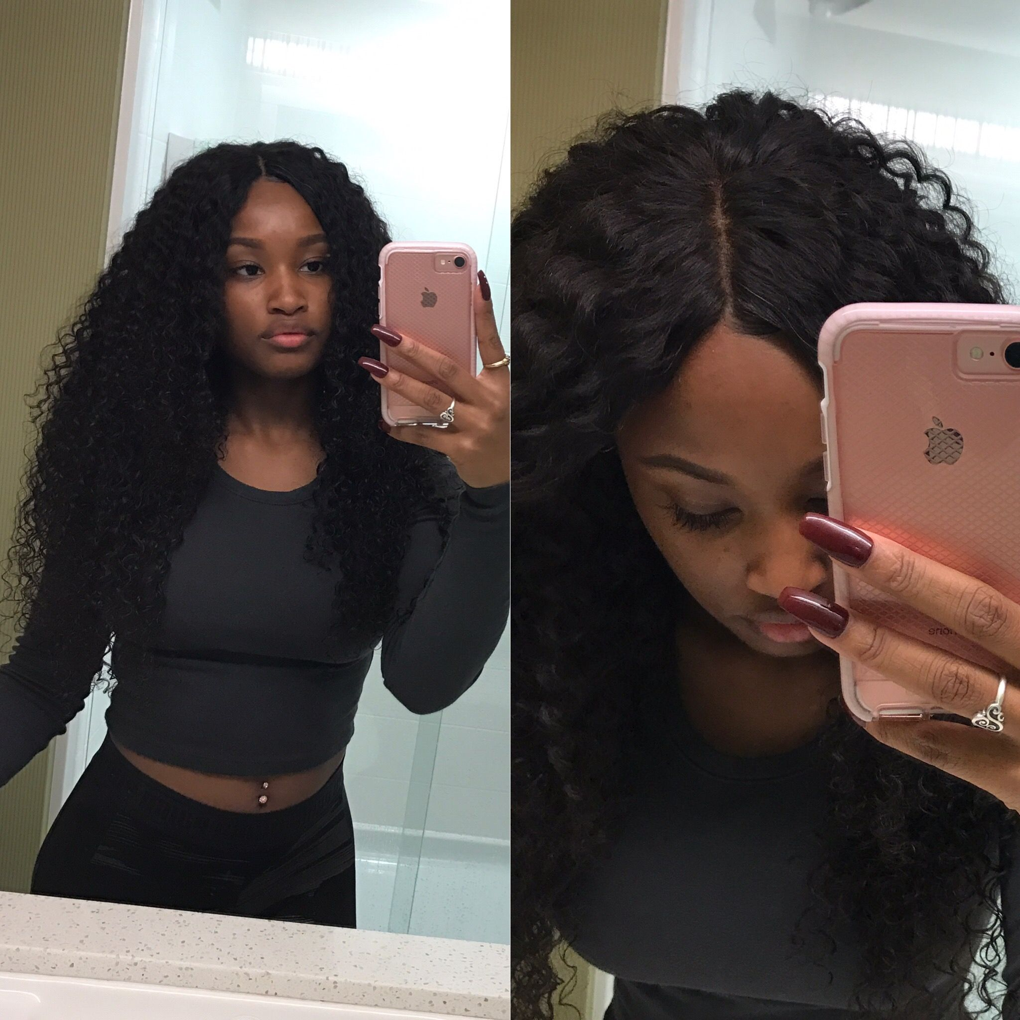 Middle part sew in with lace closure Ig hairbychasitee