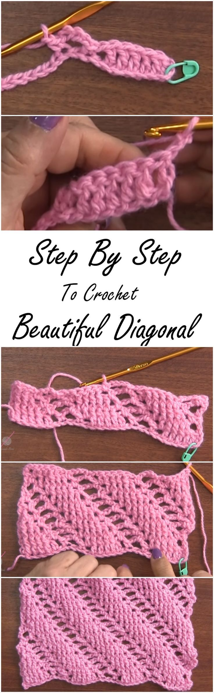 Crochet Stitched Diagonal Bars Tutorial | Puntadas, Tejido y Ganchillo