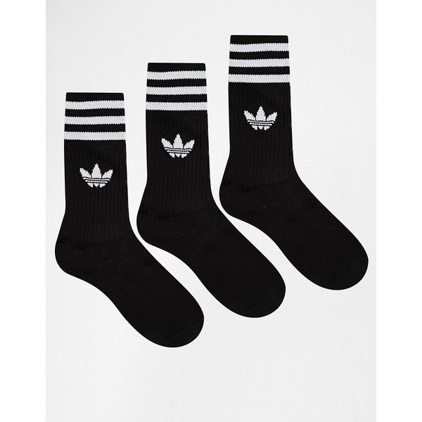 complemento Leer fusión  adidas Originals Solid Crew Socks ($12) ❤ liked on Polyvore featuring  intimates, hosiery, socks, accessories, black… | Crew socks, Adidas socks,  Fishnet ankle socks