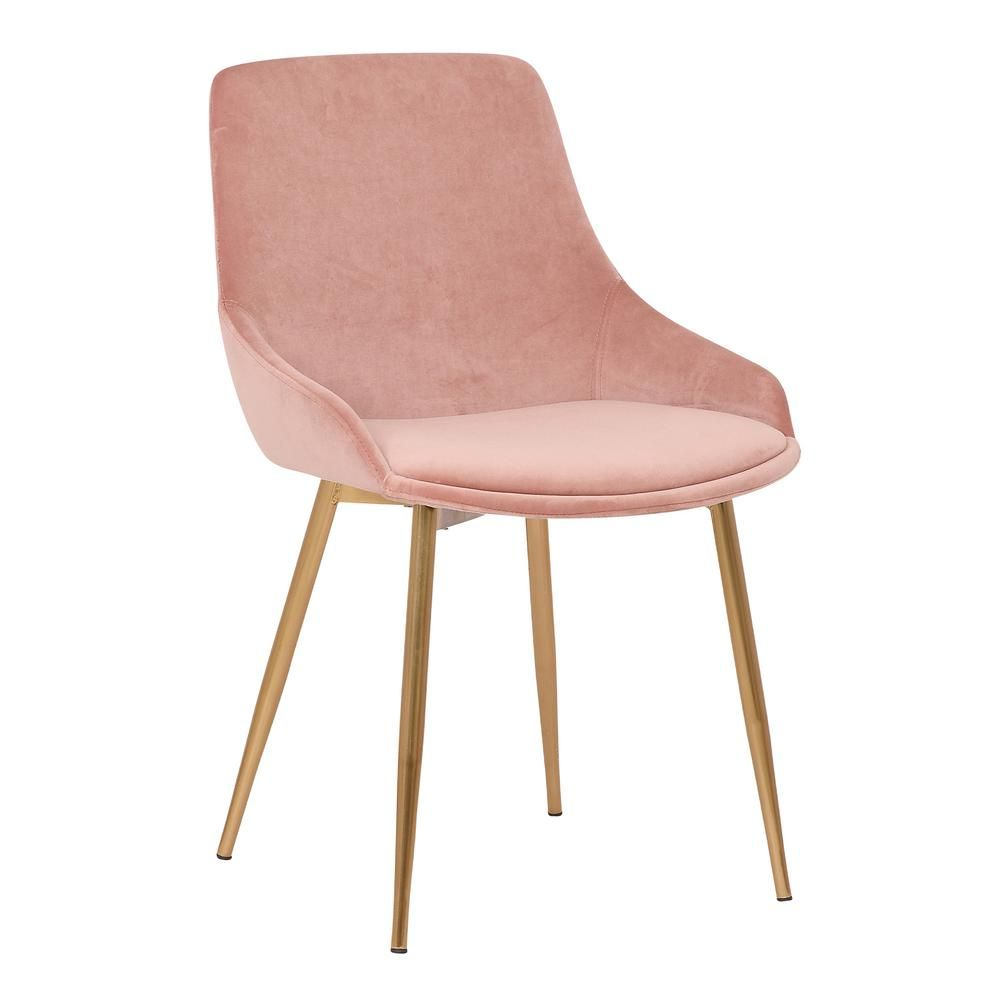 Armen Living Heidi Contemporary Dining Chair In Gold Metal Finish