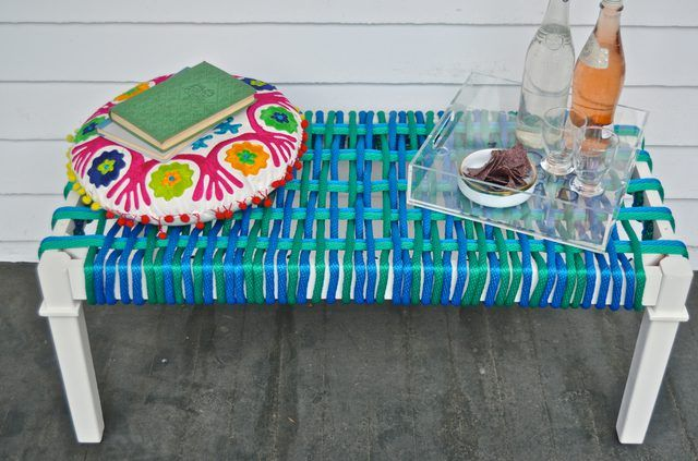 how to make a modern woven bench seat from a coffee table bench