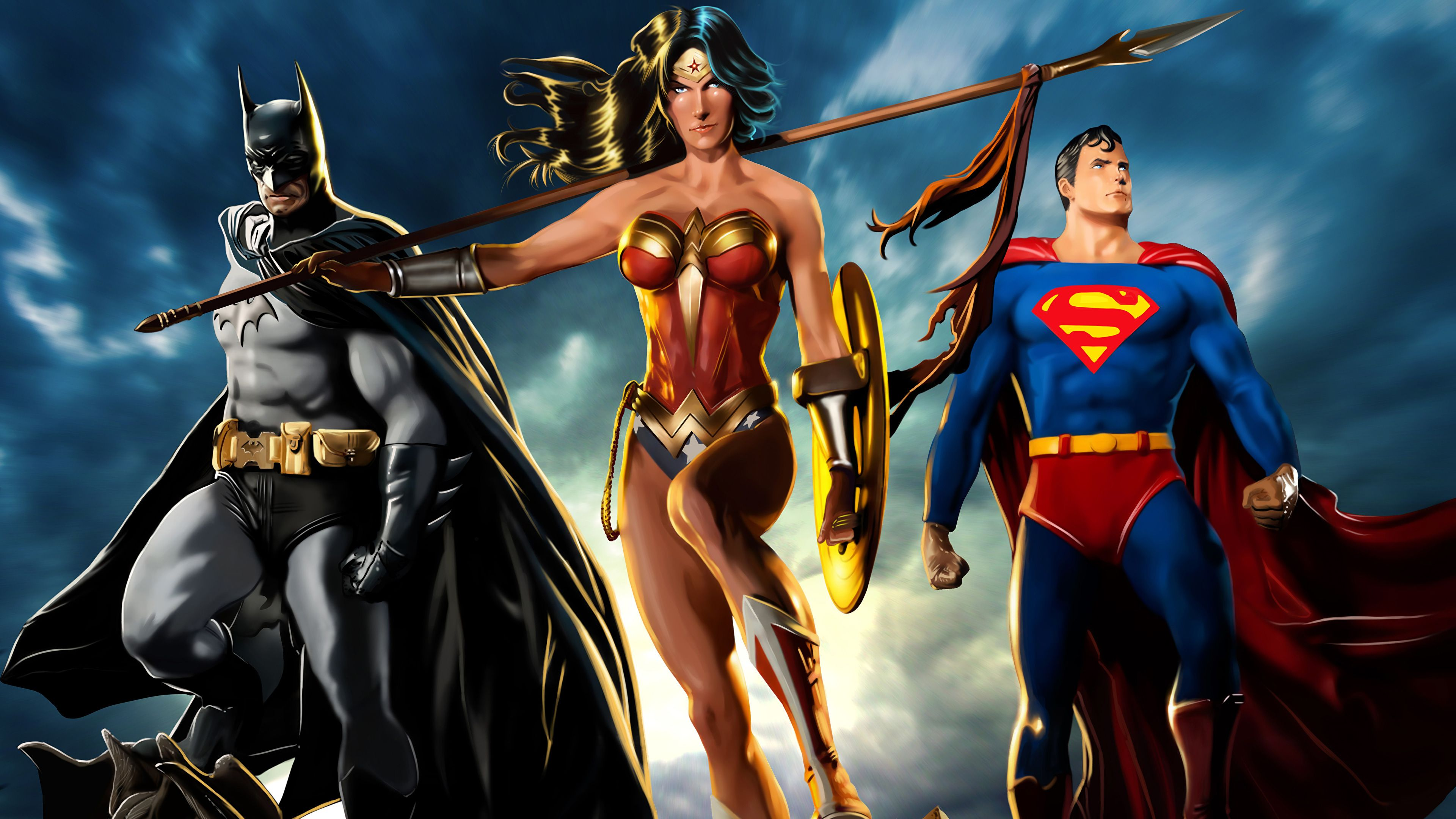 The Trinity 4k Artwork Wonder Woman Wallpapers Superman Wallpapers Superheroes Wallpapers Hd Wa Batman Superman Wonder Woman Superman Wallpaper Wonder Woman