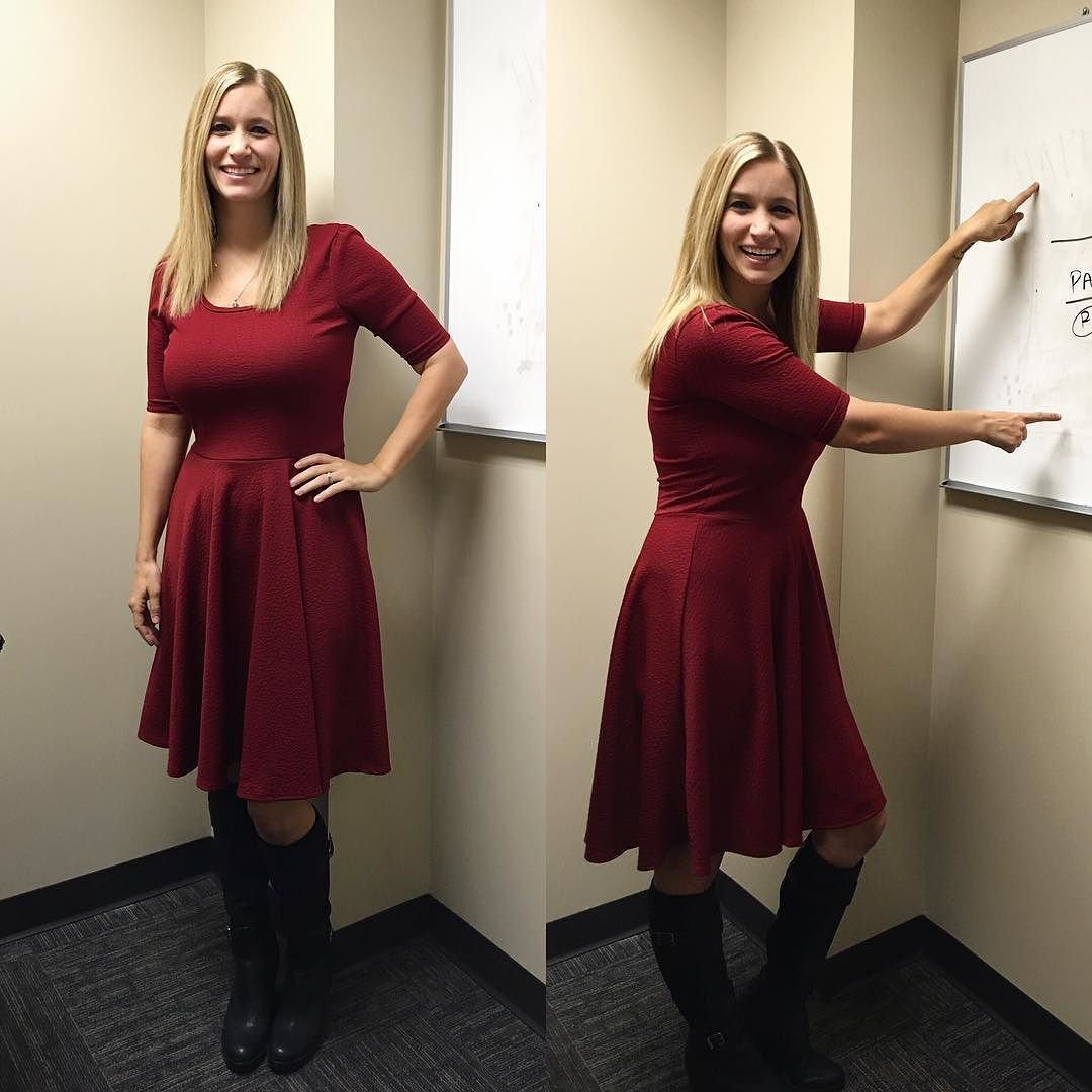 How @lindybarry roes at work in a red #Nicolette's and #blackboots! #ootd #lularoe #lularoemgwells #reddress #workstyle #workoutfit