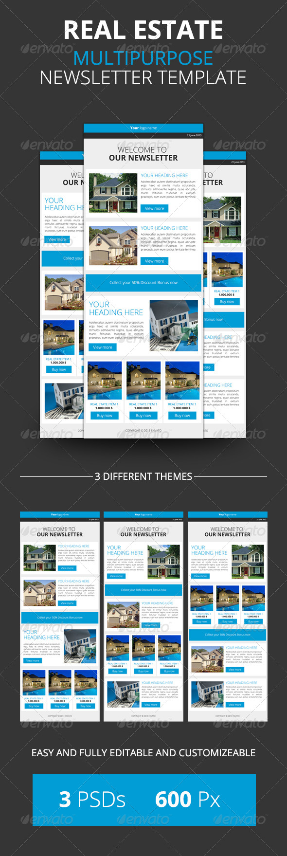 Newsletter Real Estate GraphicRiver REAL ESTATE MULTIPURPOSE – Real Estate Newsletter Template