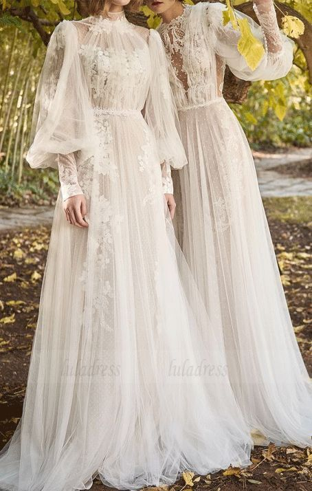 V- Neck Lace Prom Evening Dress,Long Sleeve Chiffon Wedding Dress,  #Chiffon #Dress #DressLon...