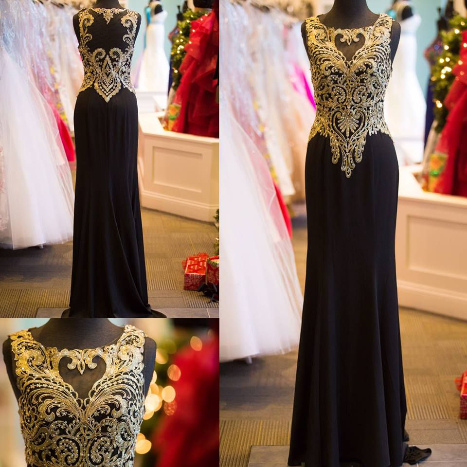 Black jersey with gold lace appliqued prom dress long evening party