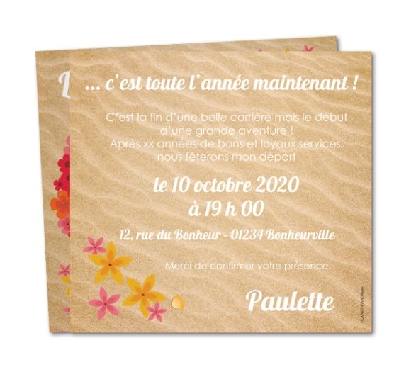 Fabuleux Carte invitation départ retraite Couronne d'hibiscus (WR-815  OC73
