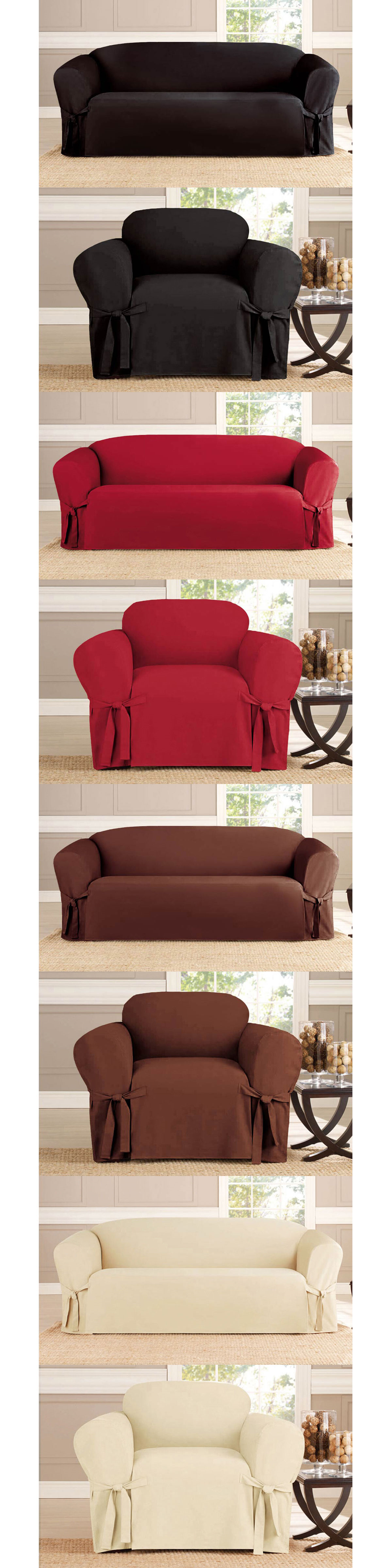 Slipcovers Bundle 2 Piece Sofa And Chair Micro Suede