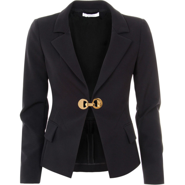 Versace Collection Black Polyamide Fitted Tailored Blazer (£459) ❤ liked on Polyvore featuring outerwear, jackets, blazers, coats, coats & jackets, gold blazer, fitted jacket, tailored jacket, fitted blazer and gold blazer jacket